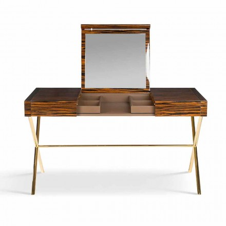 Modern vanity table Ada 3 with opening top, made of glossy ebony