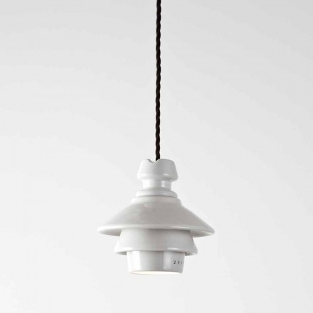 Toscot Battersea terracotta pendant lamp with plate made in Tuscany