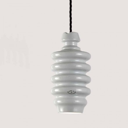 Toscot Battersea white ceramic pendant lamp, modern design made in Italy