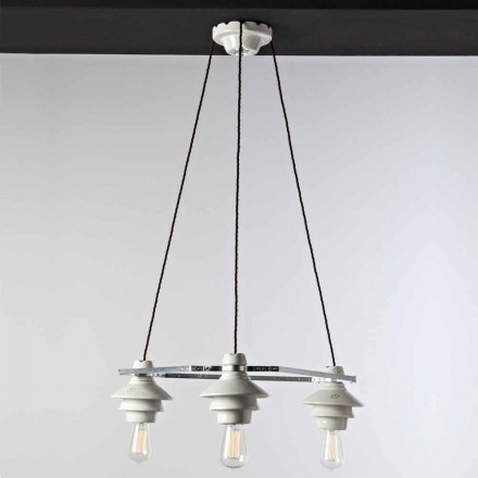 Toscot Battersea 3-light ceramic hanging lamp, modern design