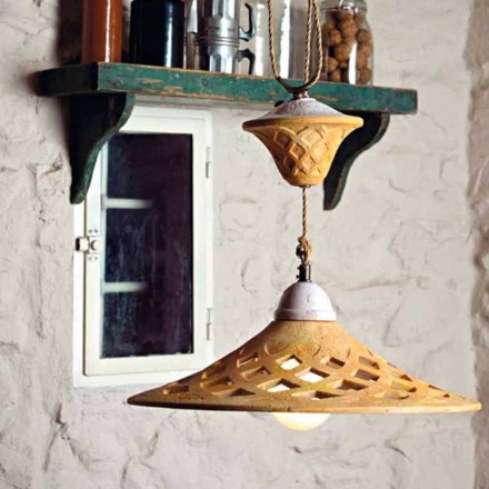 Toscot Bellagio handmade terracotta pendant lamp made in Tuscany