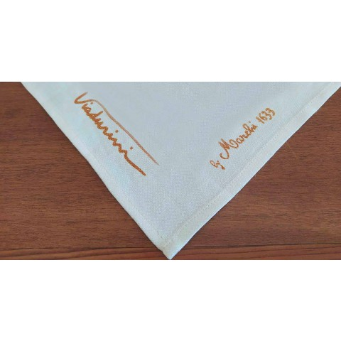 Tablecloth of Art with Hand Printed Design of High Italian Craftsmanship