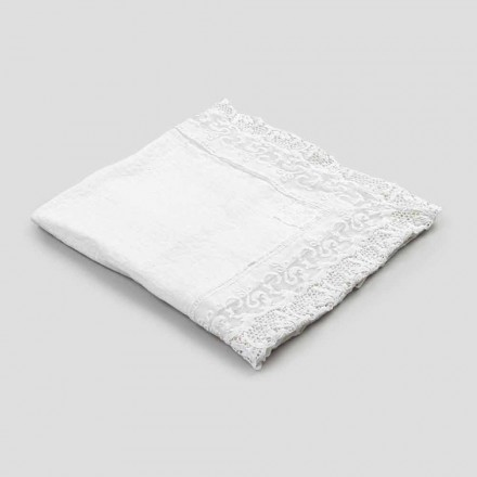 Square Linen Tablecloth with Lace White Luxury Design Made in Italy - Olivia