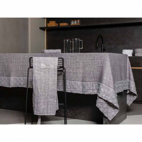 Anthracite Linen Tablecloth and Border with Geometric Decor, Handcrafted - Dippel