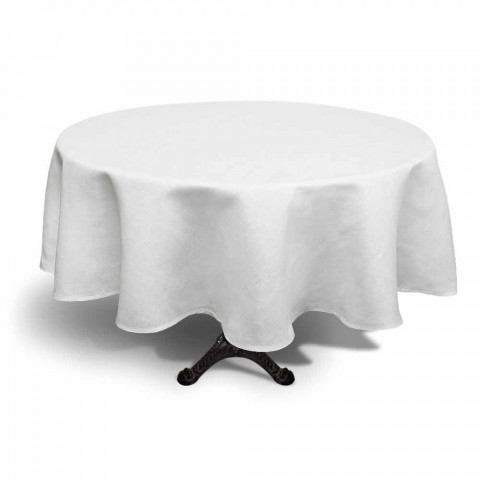 Round Cream White Linen Tablecloth Hand Made in Italy - Blessy