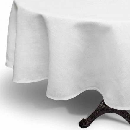 Round Cream White Linen Tablecloth Handcrafted in In Italy - Blessy