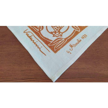 High Crafted Linen Tablecloth with Hand Printed Design of Italian Art