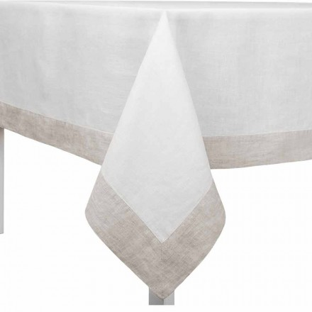 White and Natural Linen Tablecloth, Rectangular or Square Made in Italy - Poppy
