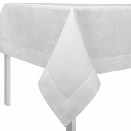 Rectangular or Square Cream White Linen Tablecloth Made in Italy - Poppy