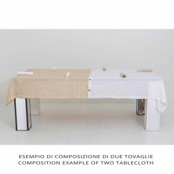 Colored Linen Tablecloth with Buttonholes and 12 Modular Luxury Buttons - Mediterranea