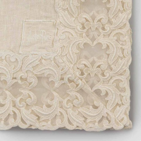 Beige Linen Square Tablecloth with Handcrafted Luxury Farnese Lace - Kippel