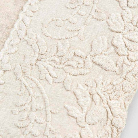 Beige Linen Square Tablecloth with Handcrafted Luxury Petal Embroidery - Vippel