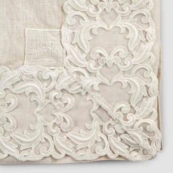 Beige Linen Rectangular Tablecloth with Farnese Luxury Artisan Lace - Kippel