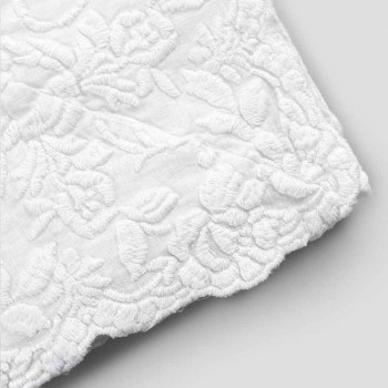 Beige Linen Rectangular Tablecloth with Handcrafted Luxury Petal Embroidery - Vippel