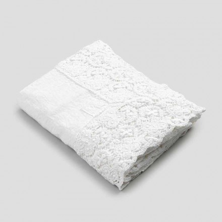 Rectangular Tablecloth in Linen and Lace Cotton of Luxury Design - Olimpia