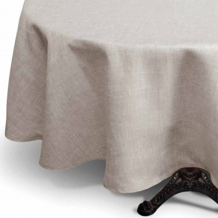 Round Natural Color Pure Linen Tablecloth Made in Italy - Blessy