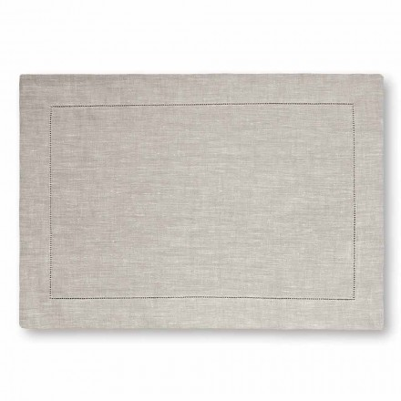 American Placemat in Pure White or Natural Linen Made in Italy, 2 pieces - Chiana