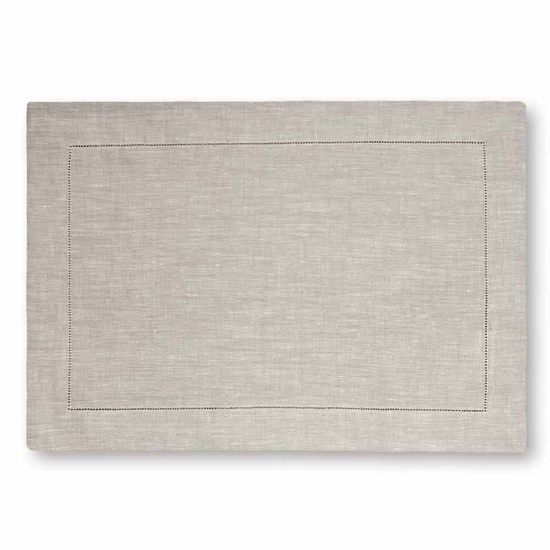American Placemat in Pure White or Natural Linen Made in Italy - Chiana