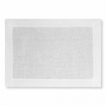 White or Natural Linen Placemat Made in Italy - Poppy
