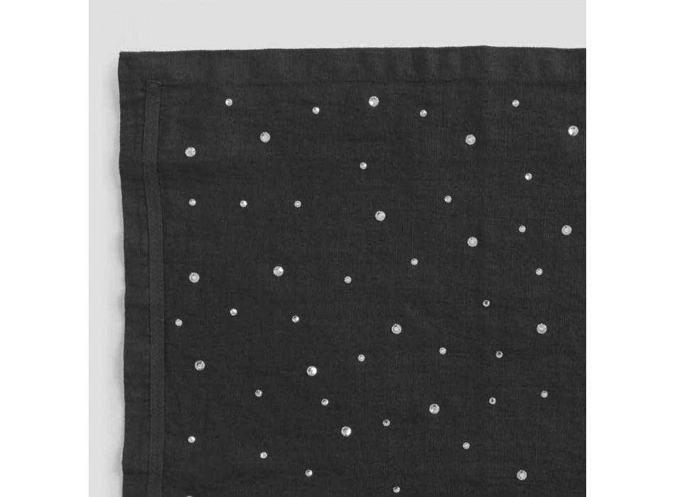 Black Linen Placemat with Crystals, Italian Handicraft, 2 Pieces - Nabuko