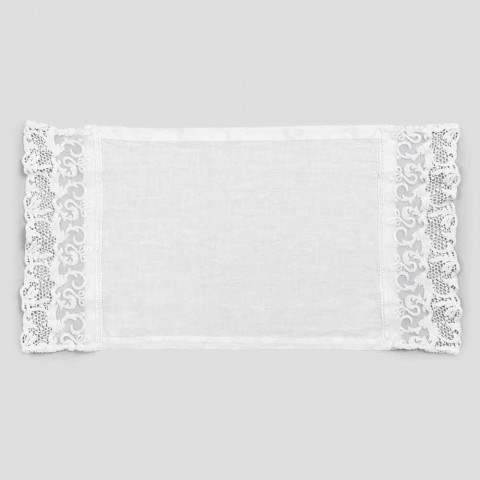 Placemat in Pure White Linen with Frame or Lace Made in Italy - Davincino