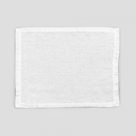 2 Pure White Linen Placemats with Edge or Lace, Design Made in Italy - Davincino