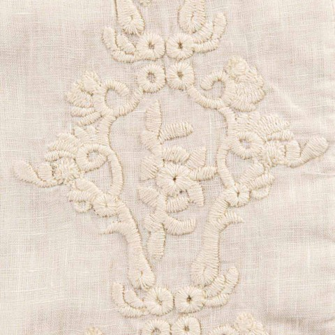 American Breakfast Placemats in Linen with Arabesque Embroidery 2 Pieces - Bipellino