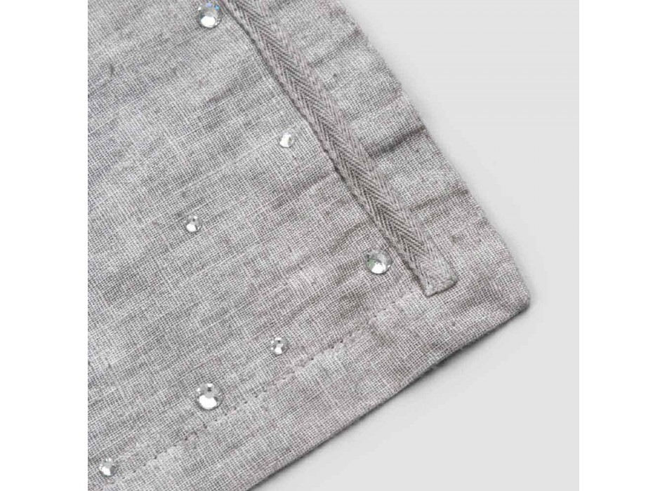 American Breakfast Placemats in Gray Linen with Crystals 2 Pieces - Macanno