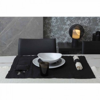 American Placemats and Cutlery Trays with Crystals in Black Linen, 4 Pieces - Nabuko