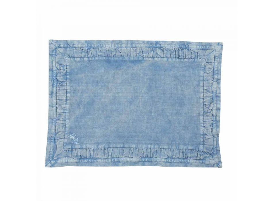American Placemats in Blue Linen or Back with Embossing, 2 Pieces - Milone