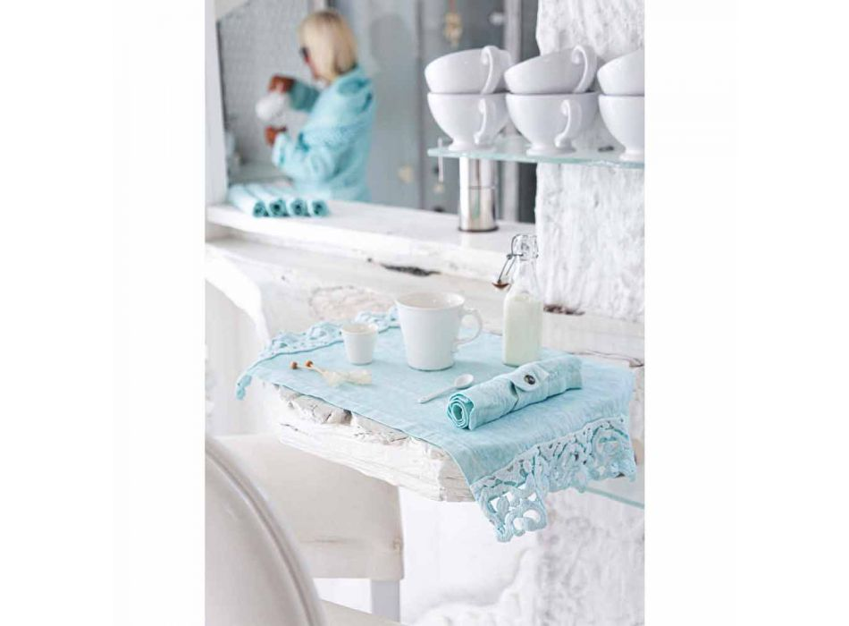 American Placemats in Linen with Poema Lace, 3 Colors 2 Pieces - Leonardino