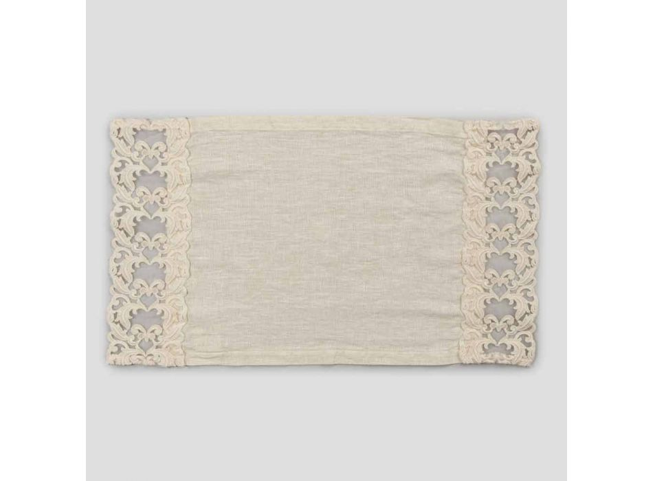 American Breakfast Placemats in Linen with Lace, 2 Piece Design - Kippelino
