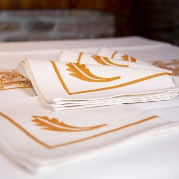 Napkin in Mixed Linen with Hand Print Unique Piece Made in Italy - Brands