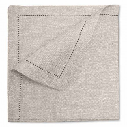 White or Natural Pure Linen Napkin Made in Italy, 2 pieces - Chiana