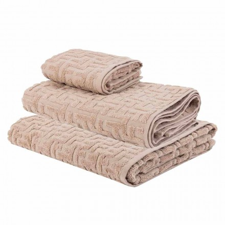Trio of Bath Towels in Terry Cotton Towel, Face and Guest - Ginestra