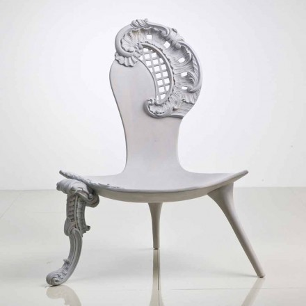 Grey hand carved throne Leon in solid oak, luxury Italian design