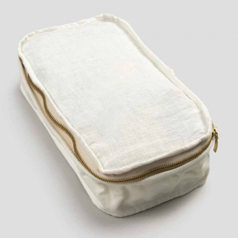 Cosmetic Bag Woman in Linen and Cotton Chalk or Back with Zipper - Rippel