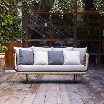 Modern design 2 seater garden sofa with pillows Babylon by Varaschin