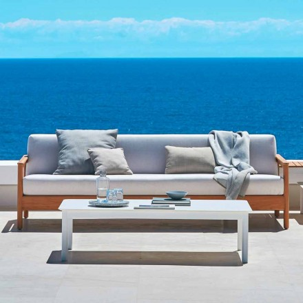 Modern 3-seat outdoor sofa in solid teak wood Bali by Varaschin