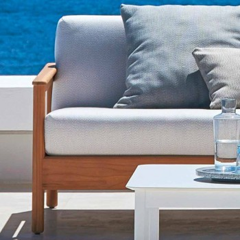 Varaschin Bali modern 3-seat outdoor sofa in solid teak wood