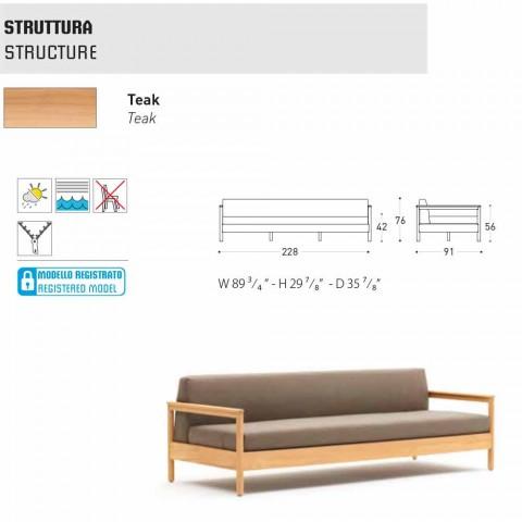 Varaschin Bali modern 3-seat outdoor sofa in solid teak wood