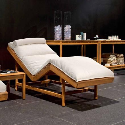 Modern design outdoor chaise longue mande of teak Barcode by Varaschin