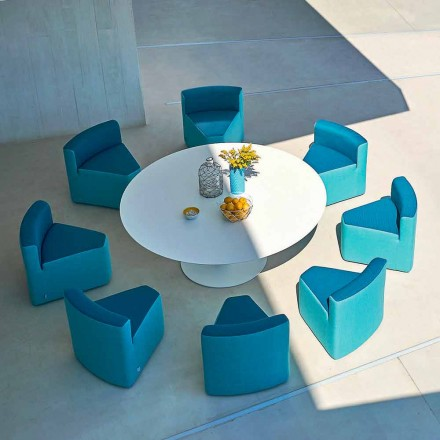 Garden table + 8 armchairs, modern design, In&Out by Varaschin