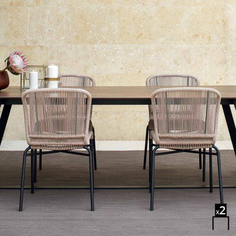 Varaschin Cricket contemporary hand-woven outdoor chair, 2 pcs