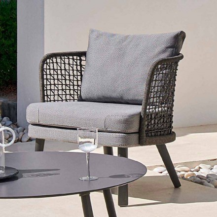 Outdoor upholstered armchair in metal and fabric Emma by Varaschin