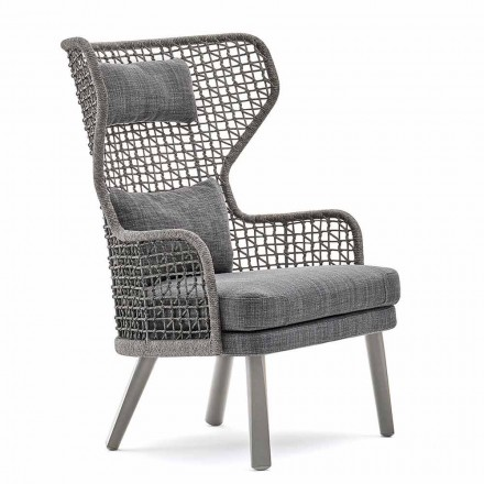 Modern outdoor armchair with fabric headrest Emma by Varaschin