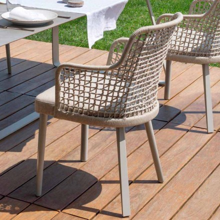 Modern outdoor armchair in fabric and aluminum, Emma by Varaschin