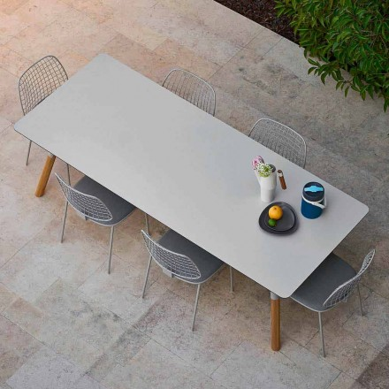 Outdoor extendable dining table with teak legs, H 75 cm Link Varaschin