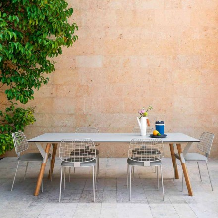 Garden dining table with teak wood legs, H 75 cm Link by Varaschin