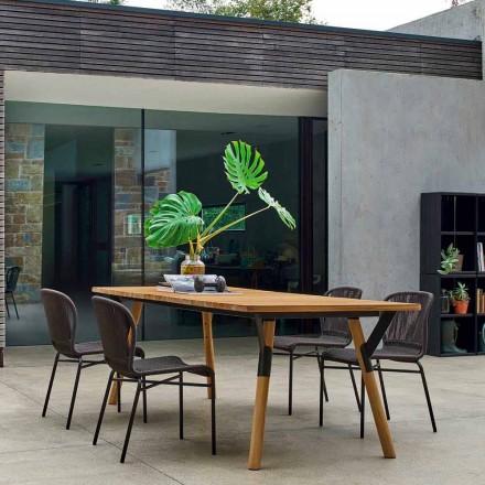 Teak wood garden dining table H75 cm, modern design Link by Varaschin